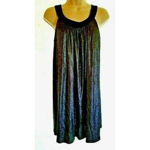 Betsey Johnson Black Silver Metallic Party Dress